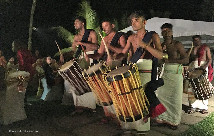 Traditional Kerala drummers, Singari Melam, sailed in on boats across the lake and performed for our group.