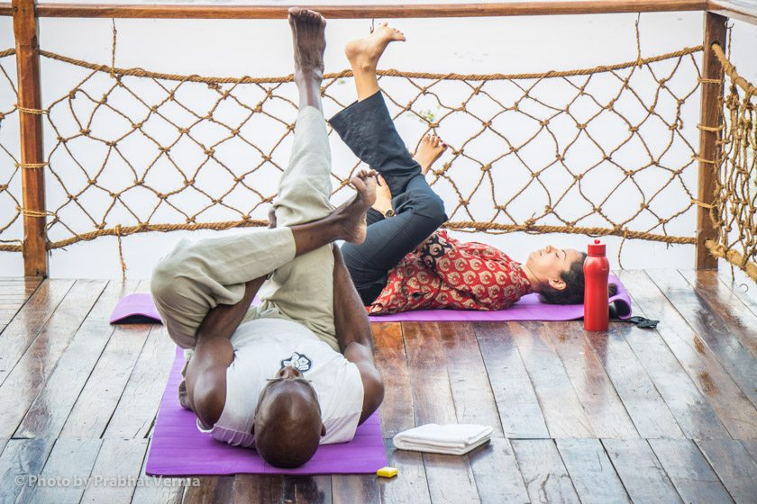 One of the yoga asana classes took place on a deck overlooking the lake. It was just breathtaking practicing yoga at dawn and watching life on the lake in the foreground.